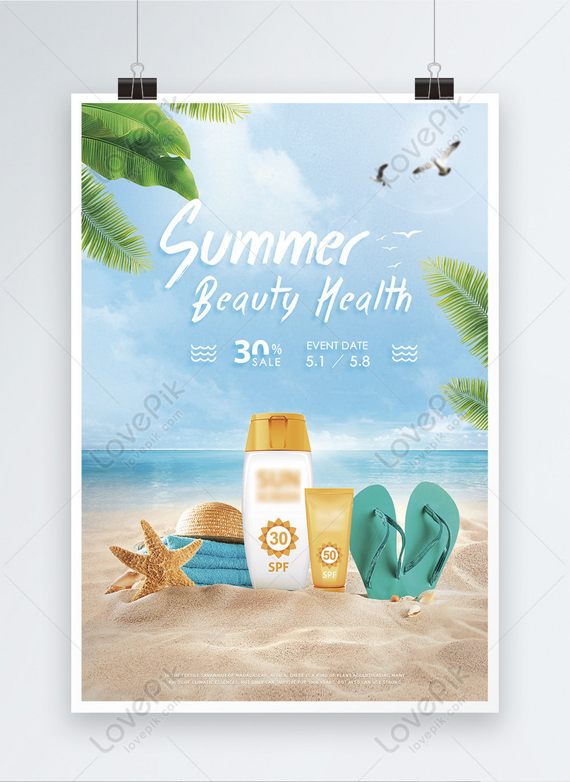 summer sunscreen cosmetics posters