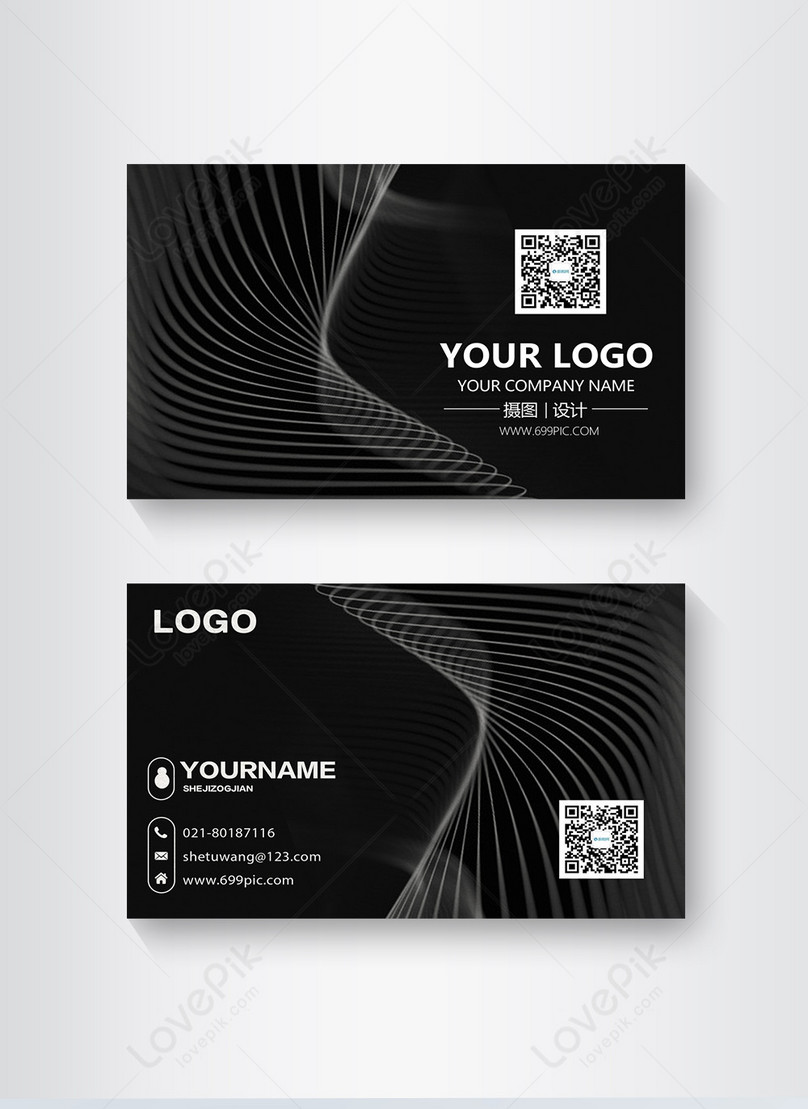 Black line simple business card design photo images_business card ...