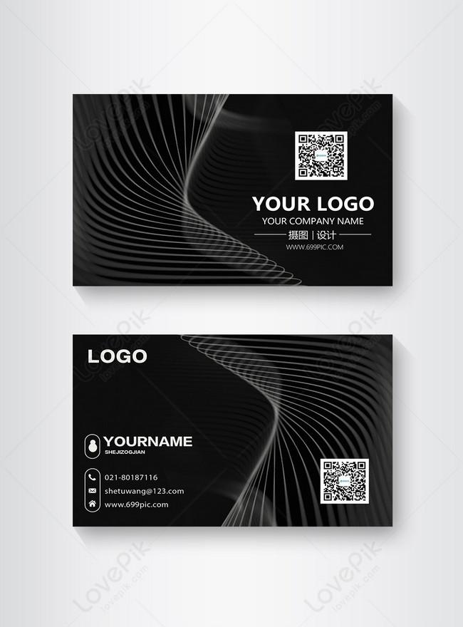 black line simple business card design
