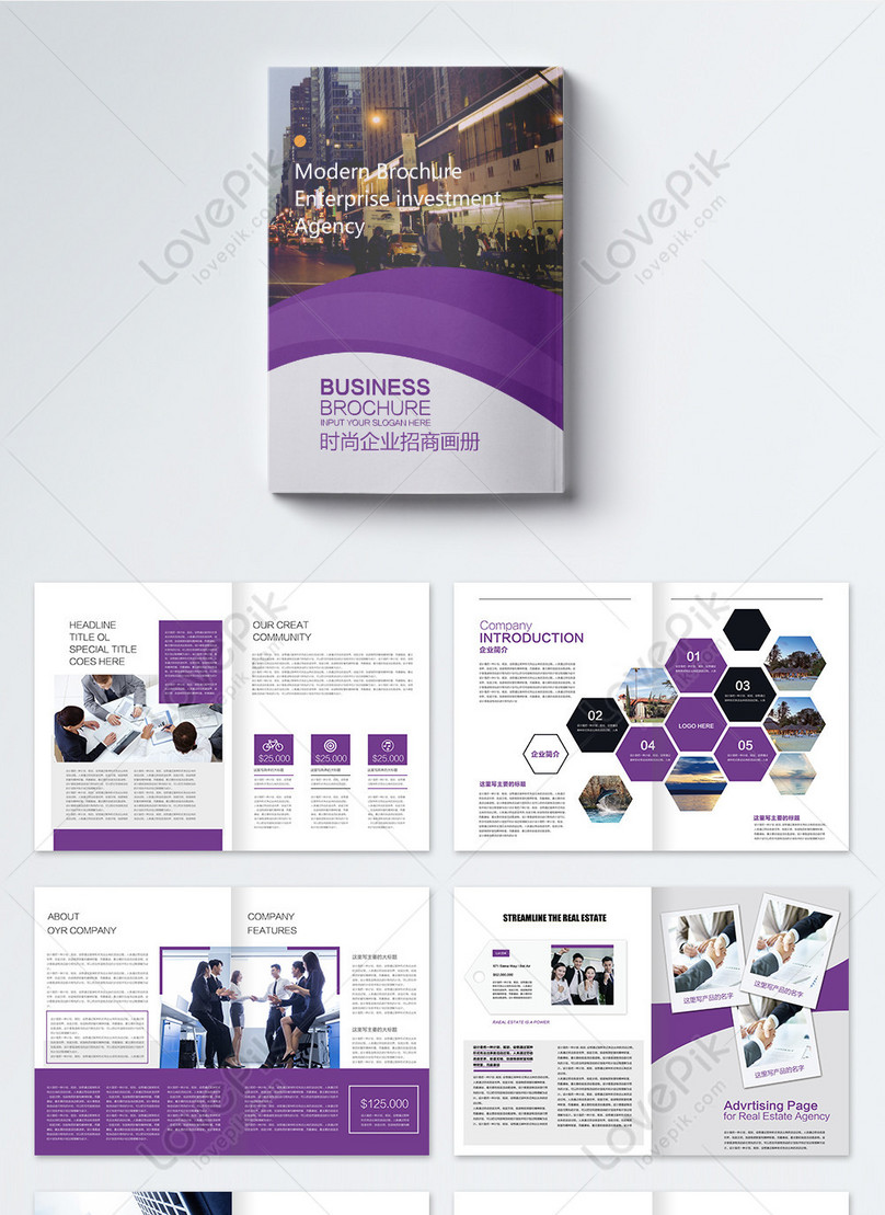 Purple atmosphere fashion enterprise investment brochure