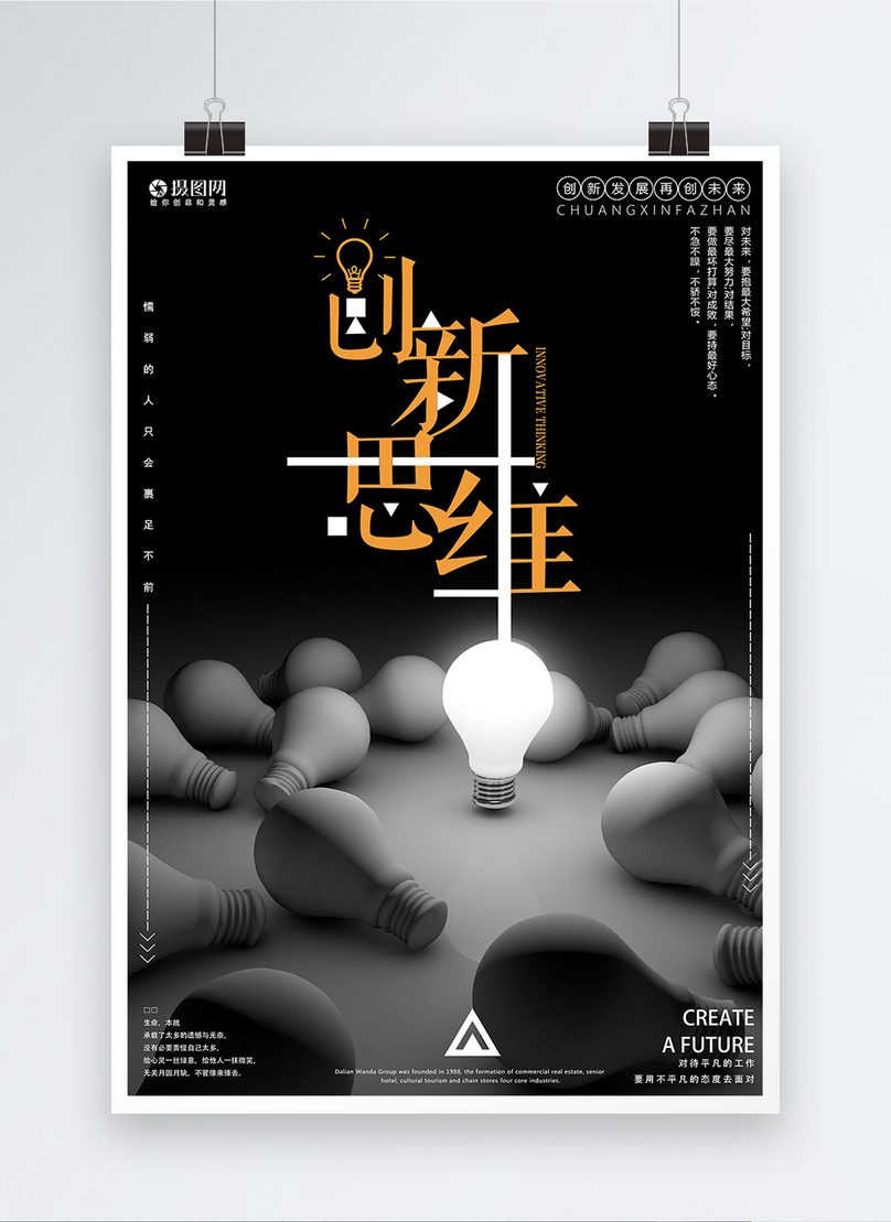 creative thinking of enterprise culture and creative poster