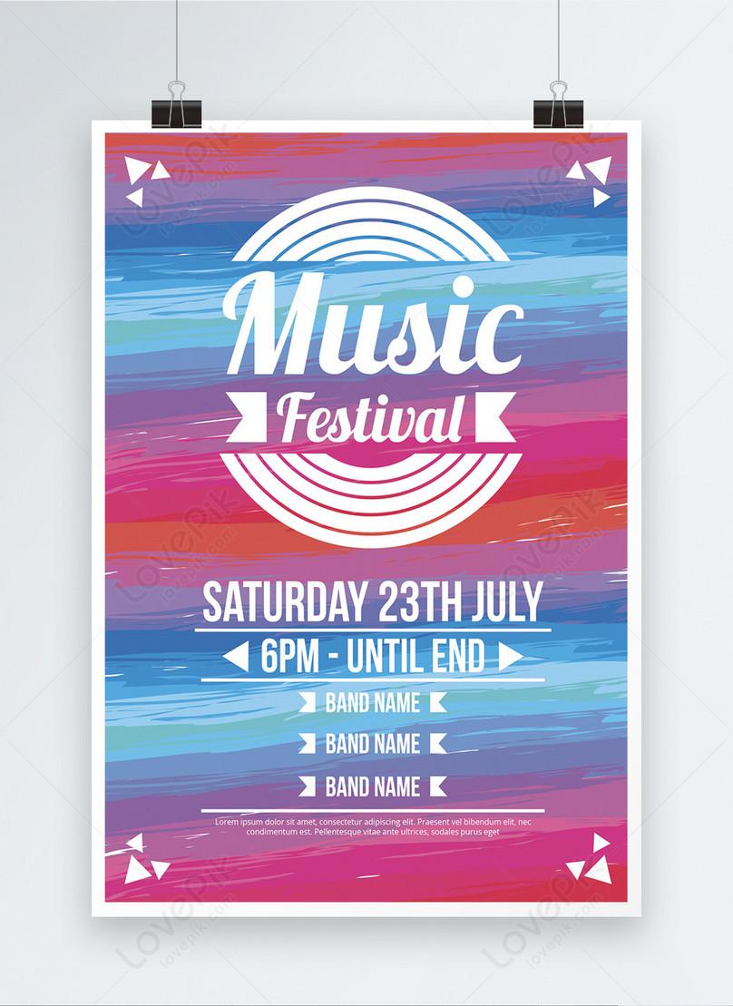 ファッションカラフルな音楽祭のポスター