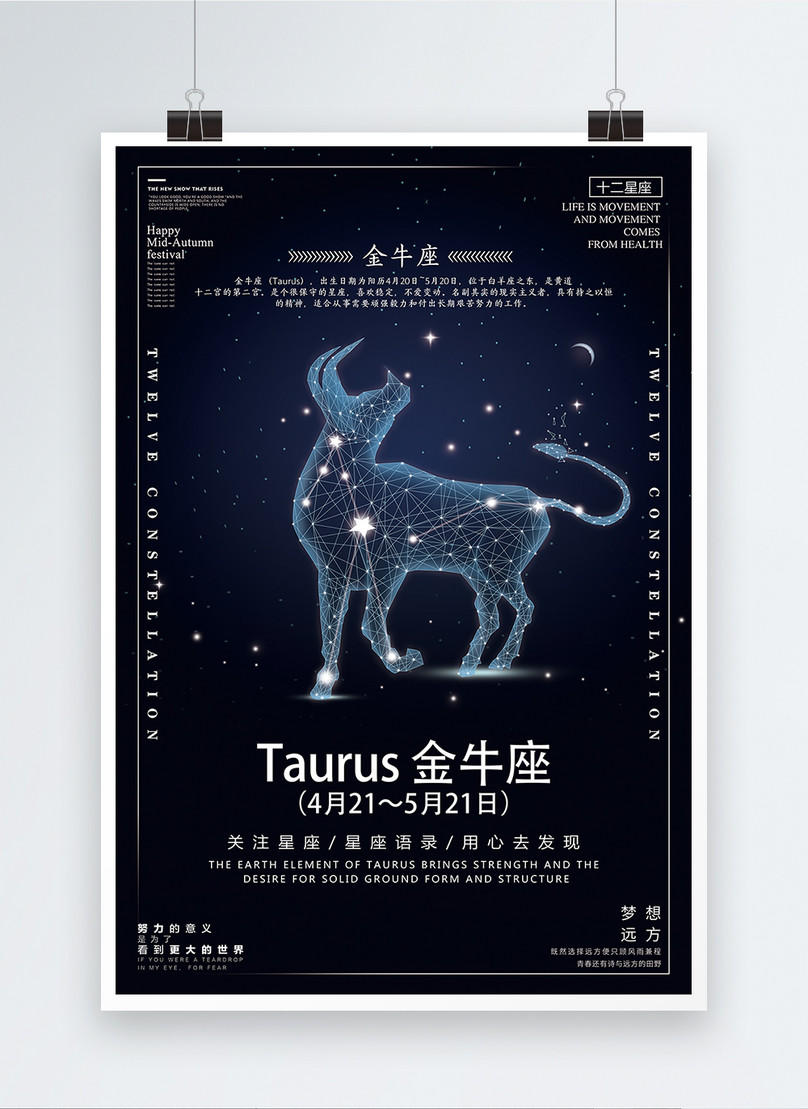 twelve constellation taurus poster