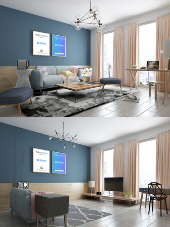 Simple nordic living room scene mockup template image_picture free
