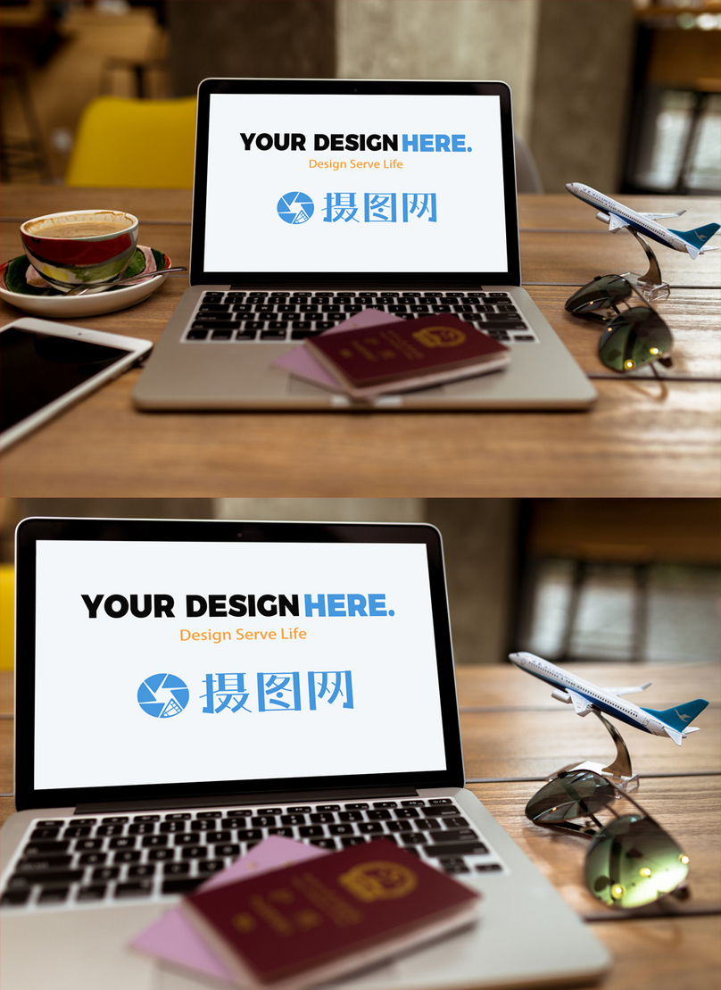 Computer mockup scene of travel agency template