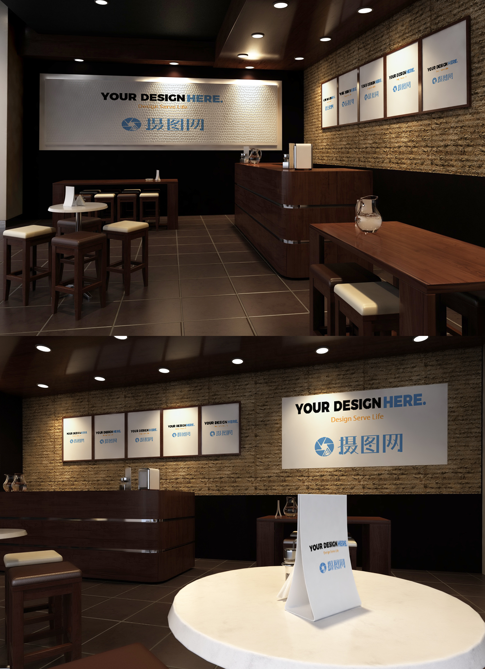 Mockup of decorative painting for indoor restaurant template ...
