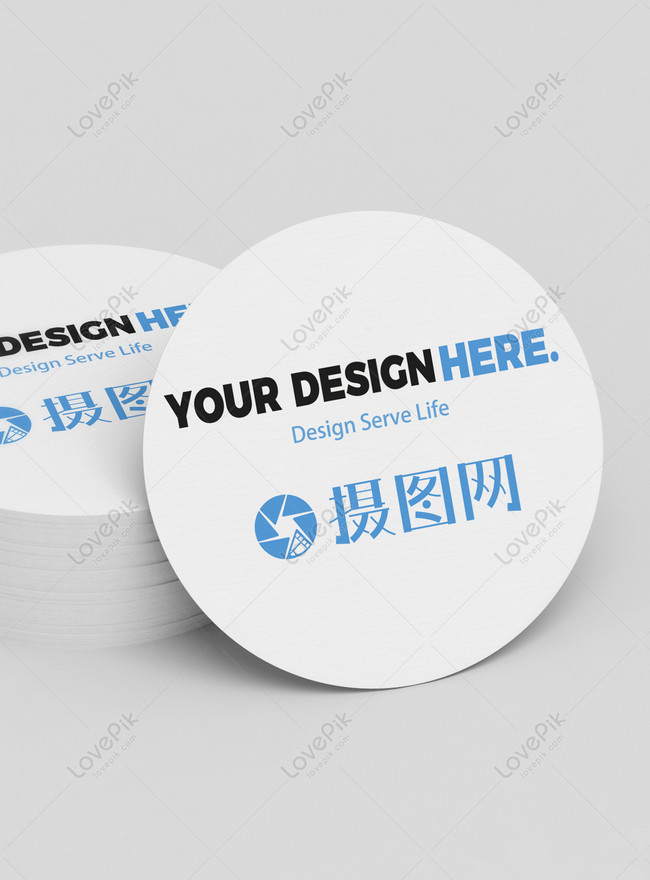 round simple business card vi mockup
