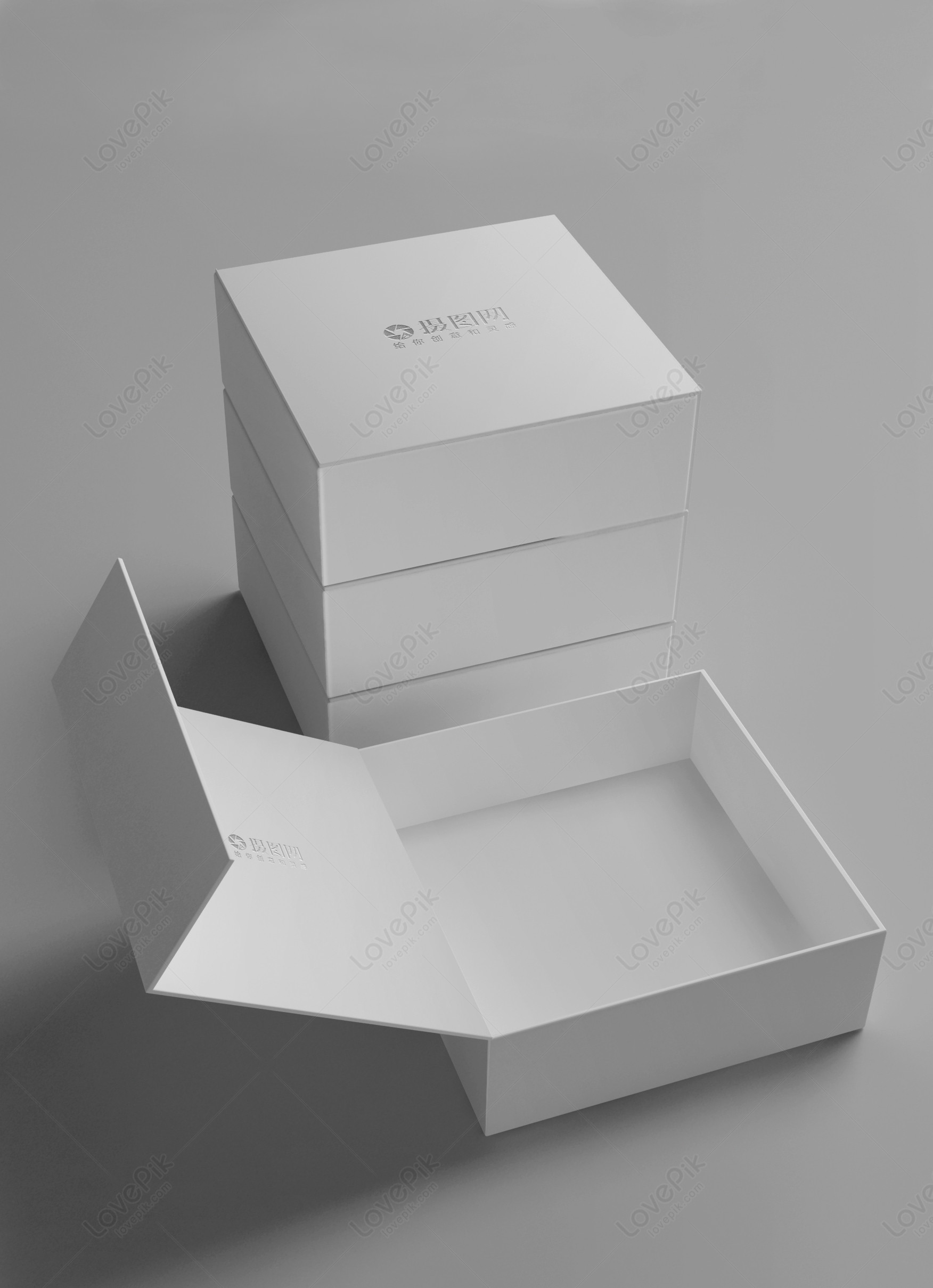 white gift box packaging mockup template image picture