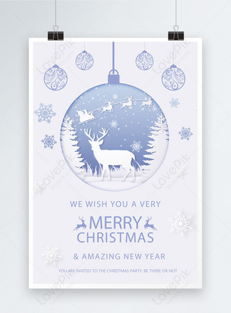 Simple atmospheric paper-cut wind Christmas poster Mga template