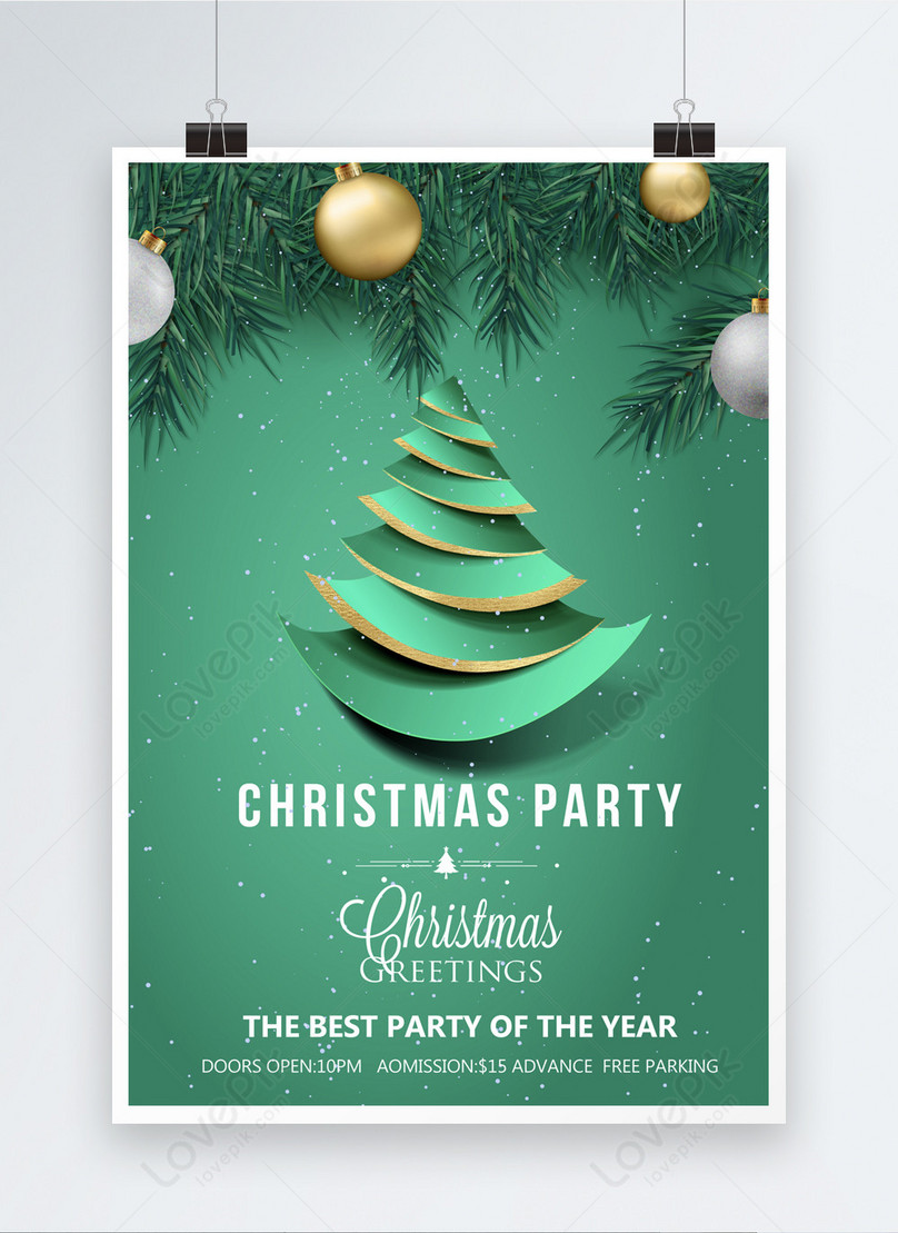 green and concise paper cut christmas poster