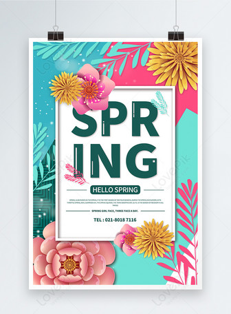 hello spring english poster Templates