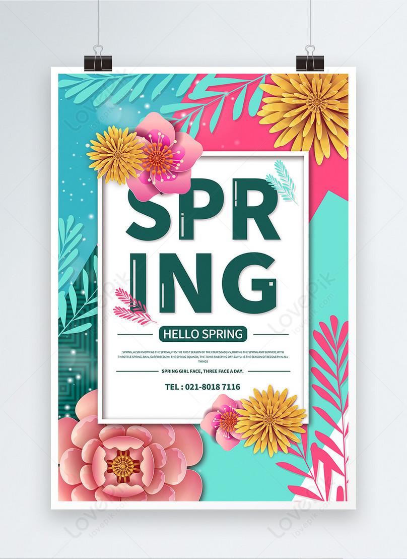 hello spring english poster