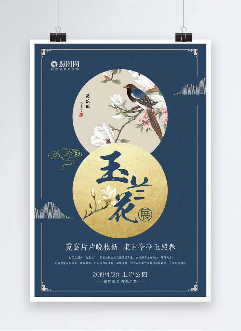 chinese magnolia flower poster