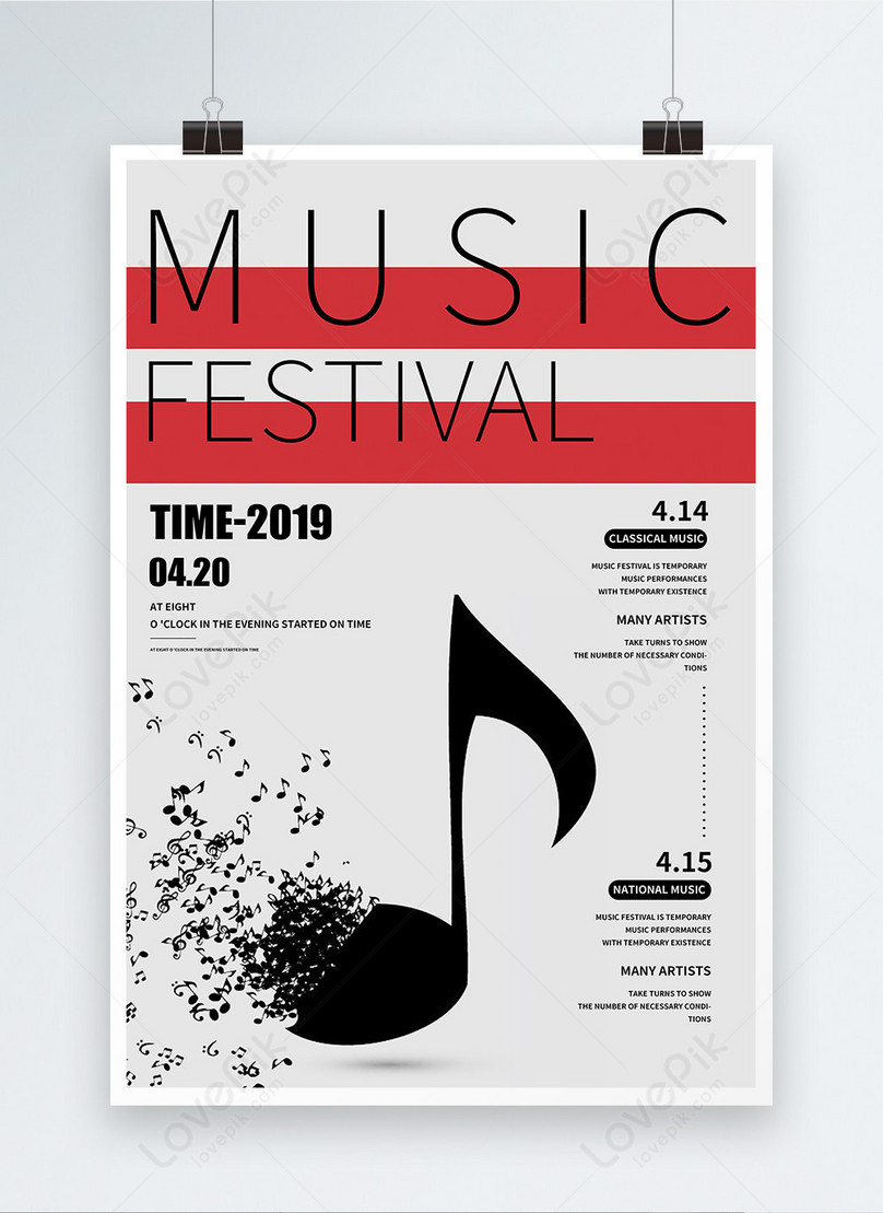 simple music festival english poster