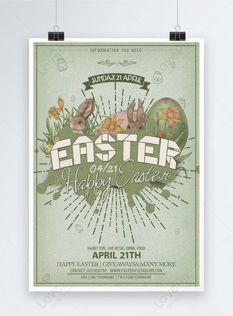 poster design of easter free promotion activities for retro cart Templates