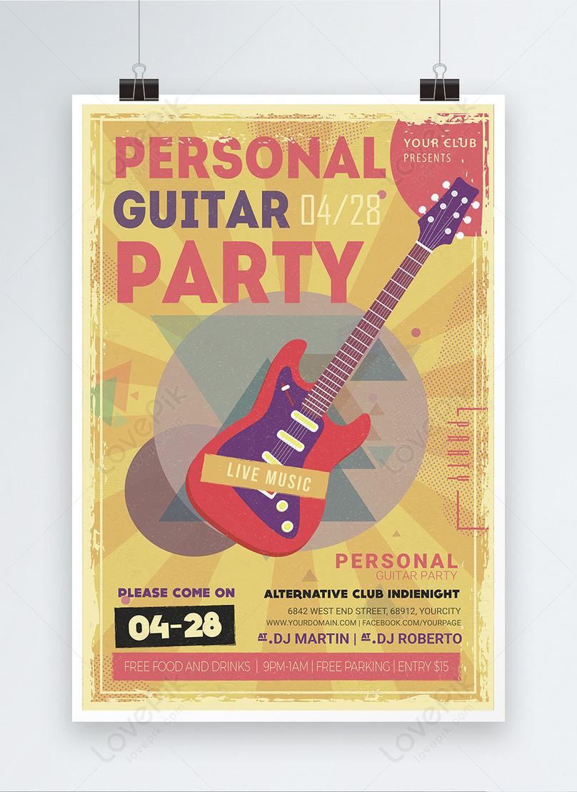 music festival theme english retro style poster