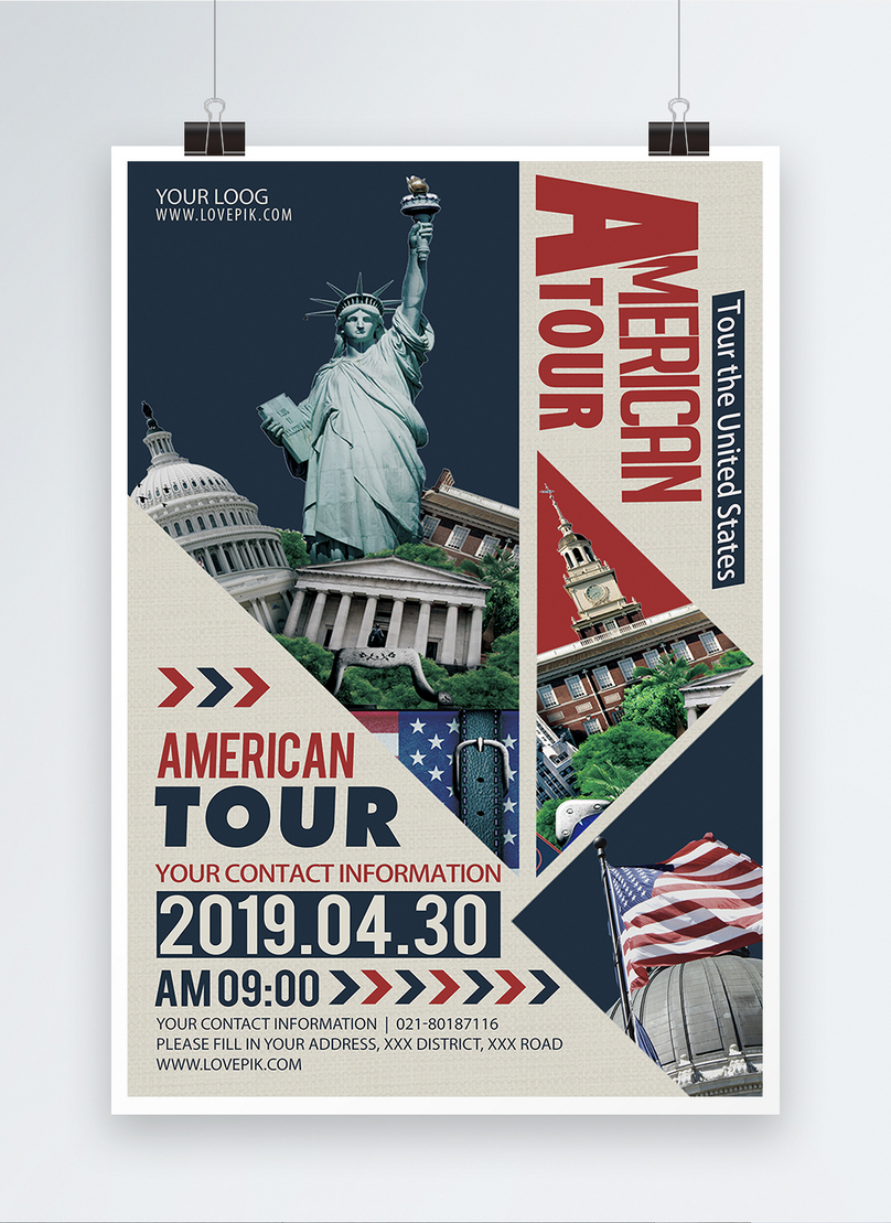 american style tourism promotion english poster