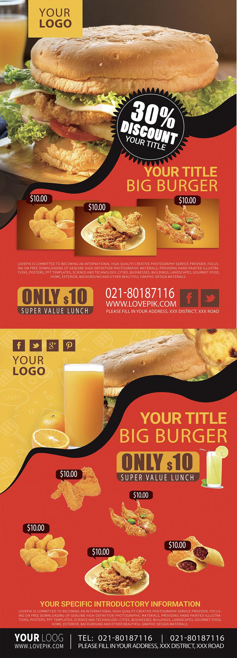 Hamburguesa Comida Flyer Ingles Imagen Descargar Prf Plantillas