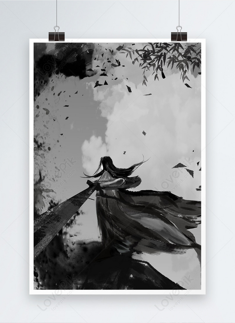 ink chinese style poster background