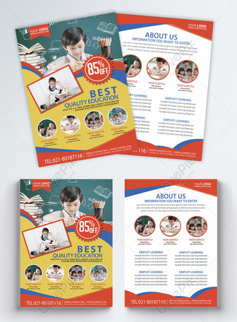 Children's education and training leaflet English Templates