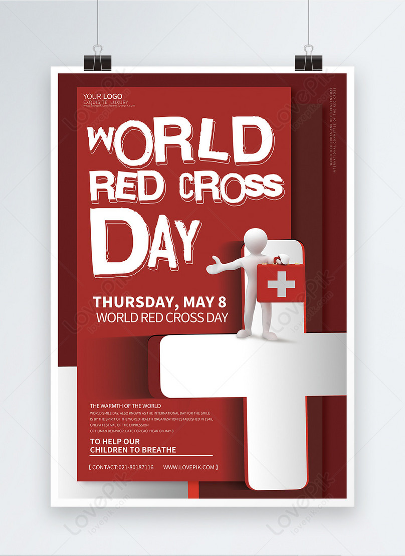 world red cross day english poster