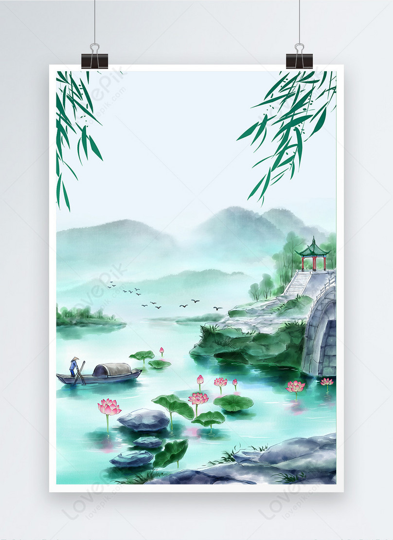 hand drawn ink chinese style poster background