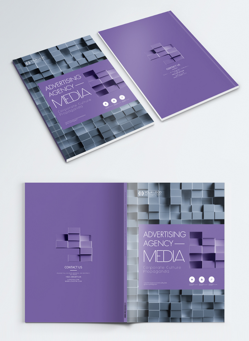 広告メディア会社のビジネスパンフレットアルバムカバーデザイン