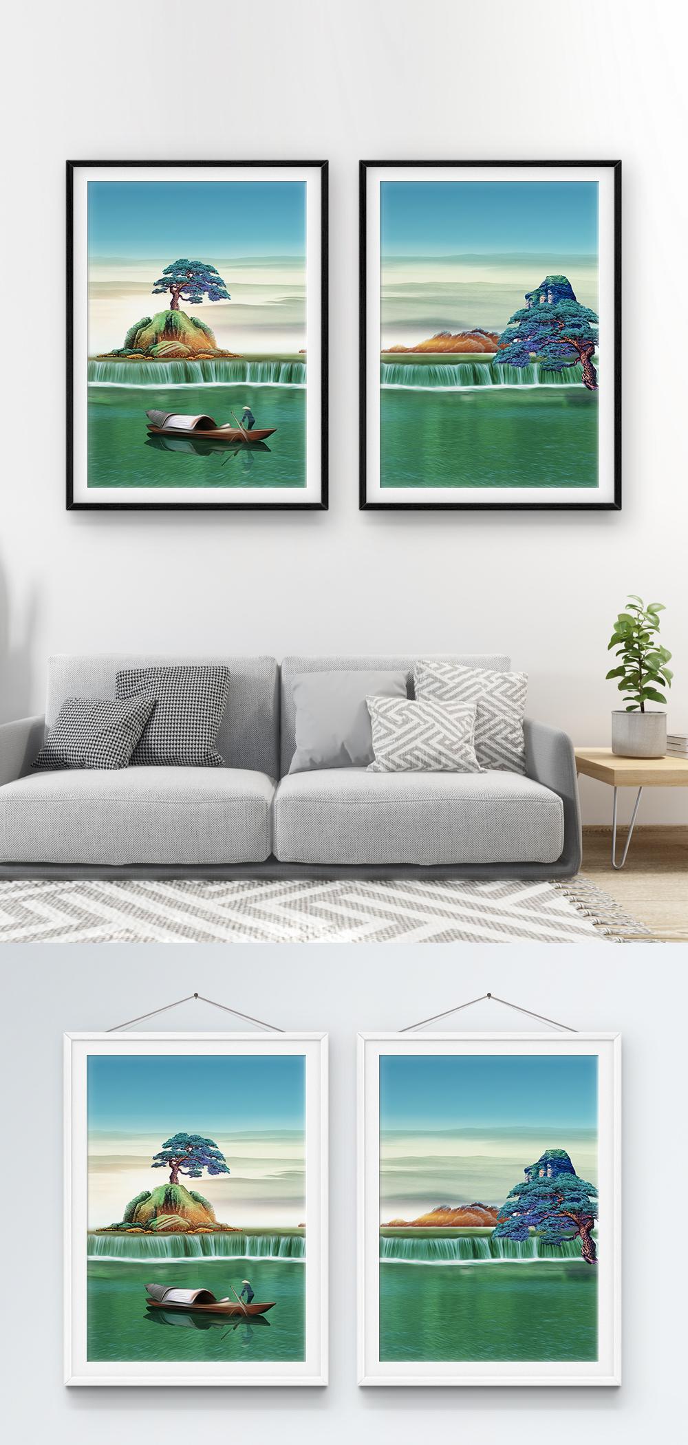 65+ Gambar Air Terjun Lukisan Kekinian