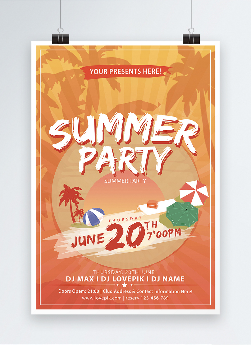 summer party english poster design
