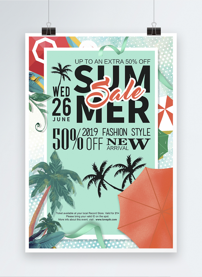 summer promotional english poster design