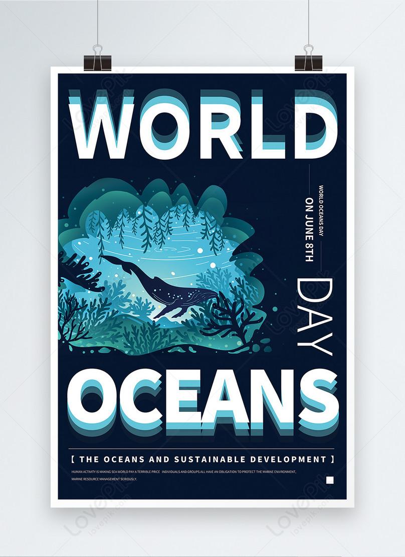 mavi saf İngilizce dünya okyanus günü promosyon posteri