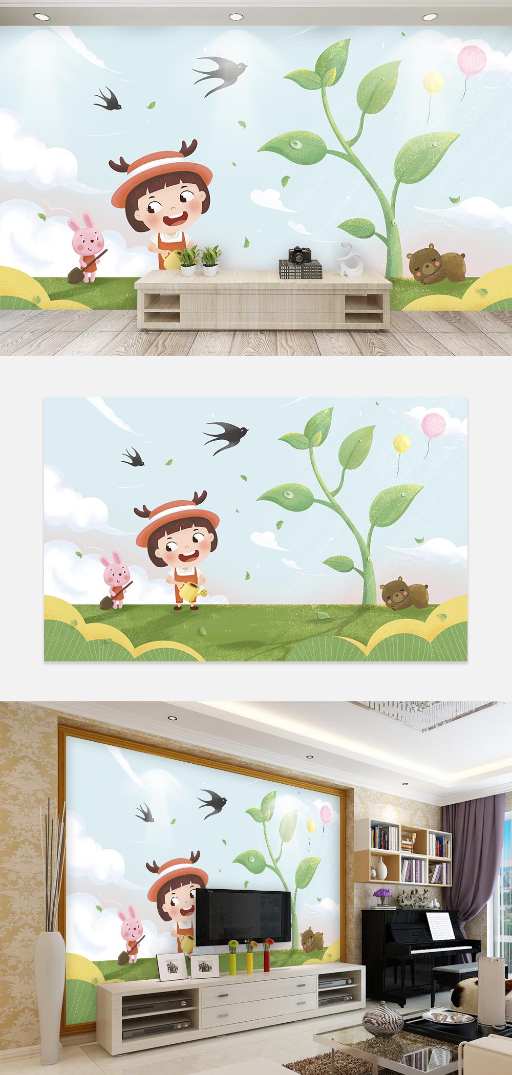 Dessin D Une Chambre D Enfant photo de mur de fond dessin animé main dessiné main enfants