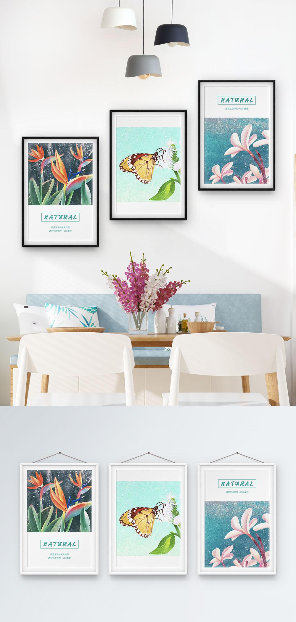 Flora Dan Fauna Hangat Nordik Lukisan Dekoratif Tiga Bingkai