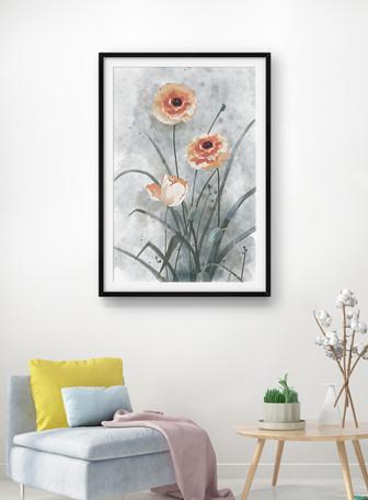 Lukisan tinta gaya cina lukisan dekoratif Templat