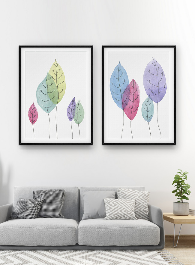 watercolor leaf decorative painting