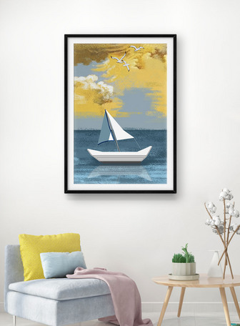 Lukisan dekoratif Seascape Templat