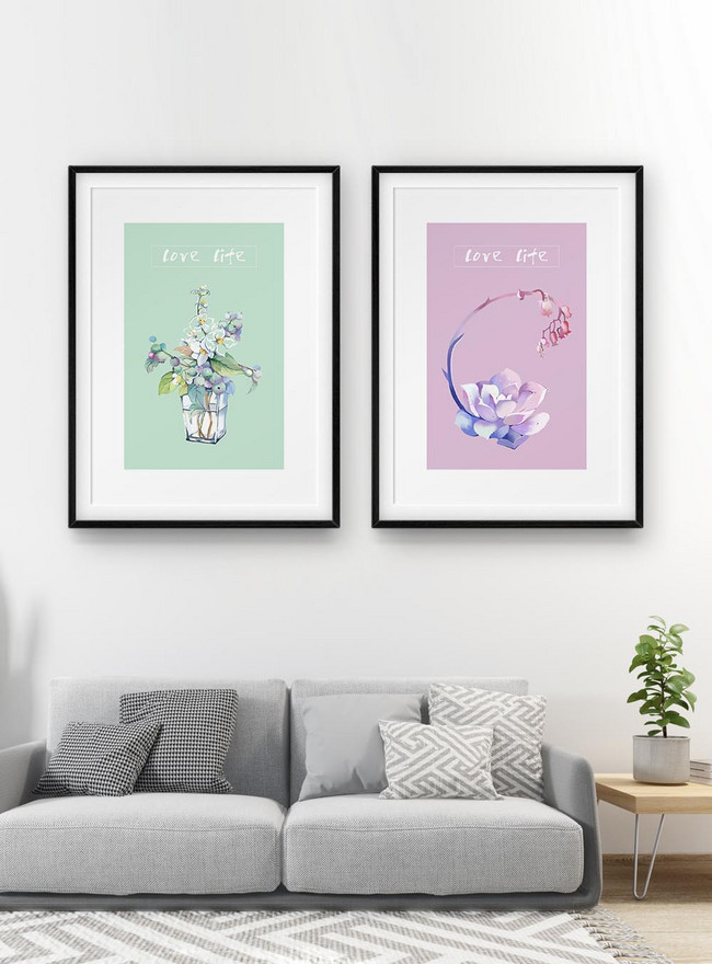 small fresh hand painted watercolor plant two frame decorative p