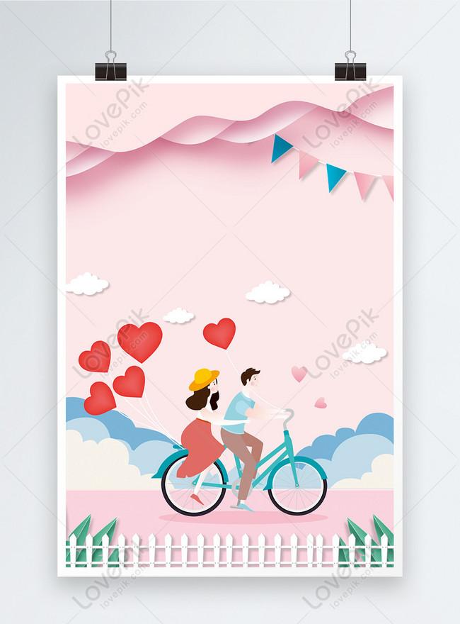 ピンクの紙カットスタイルバレンタインポスターの背景