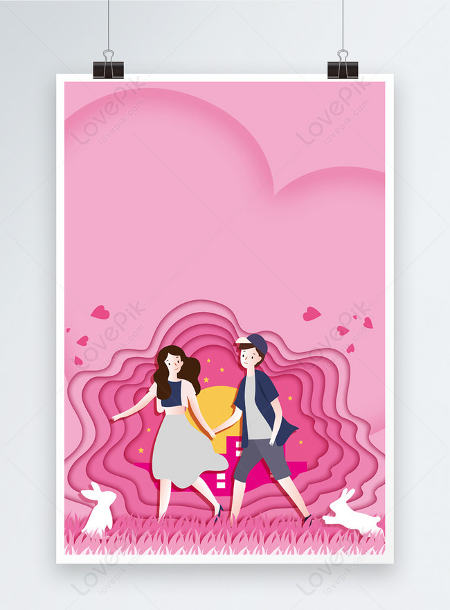 pink romantic valentines day poster background