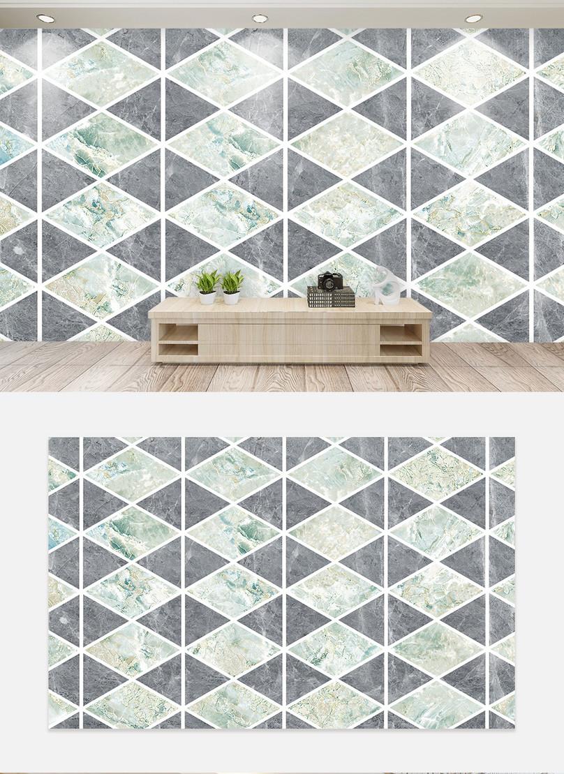 Marble Geometric Diamond Living Room Tv