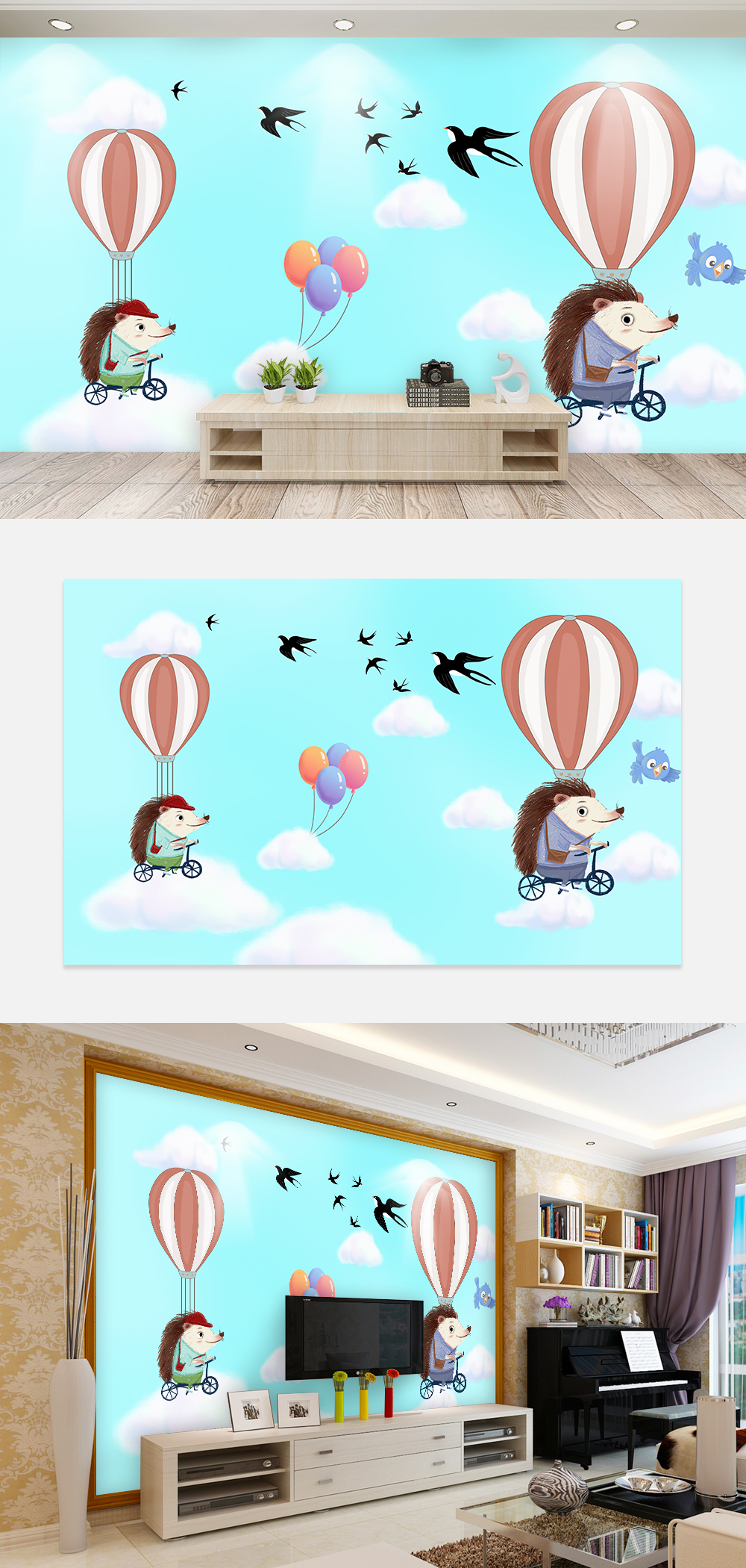 Kartun Anak Anak Kamar Wallpaper Dinding Latar Belakang