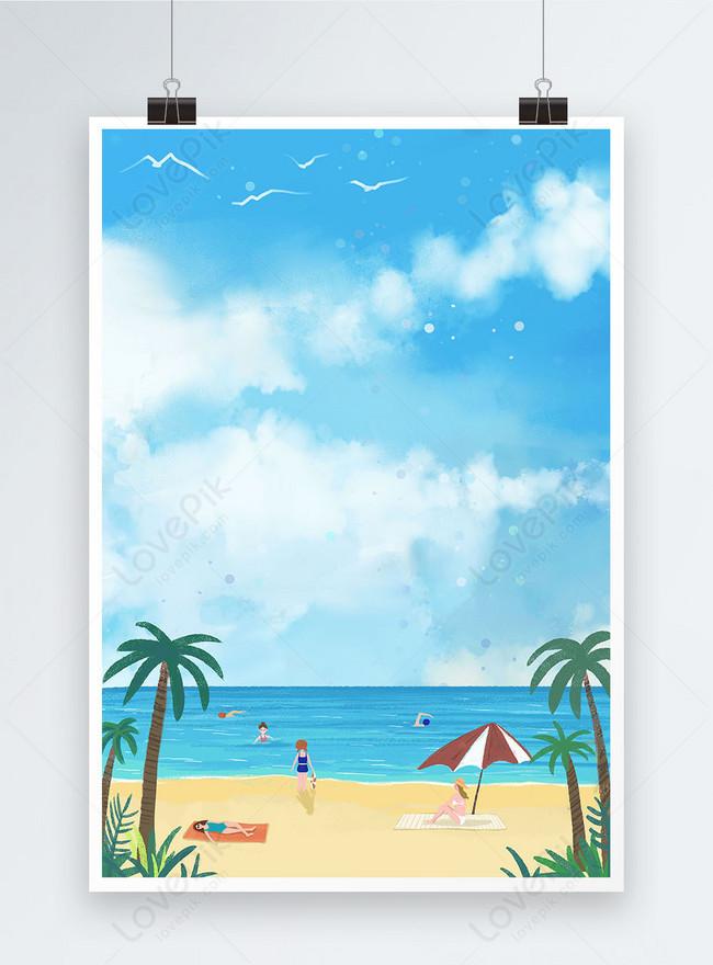 여름 해변 수영 포스터 배경
