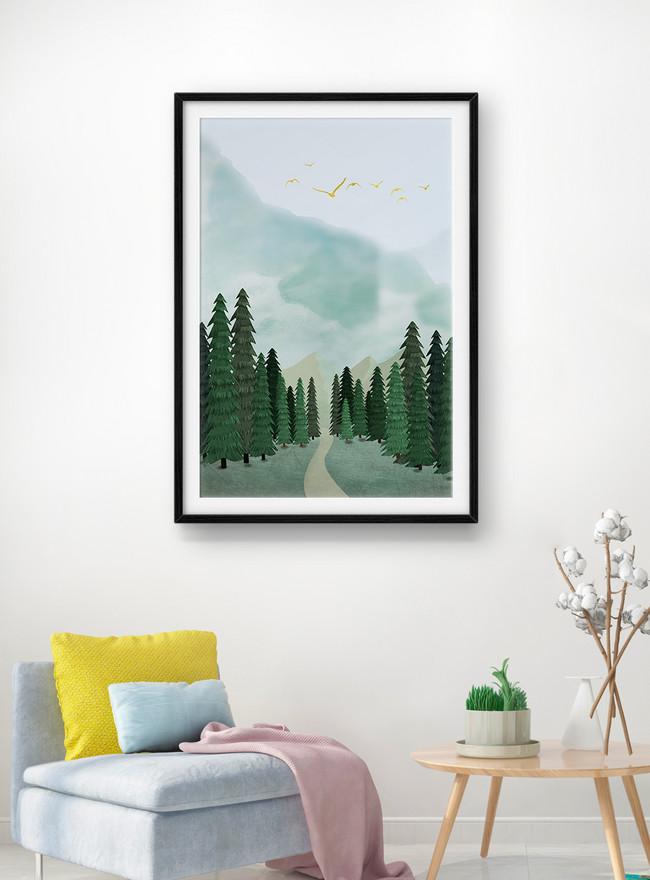 misty forest mural lukisan hiasan