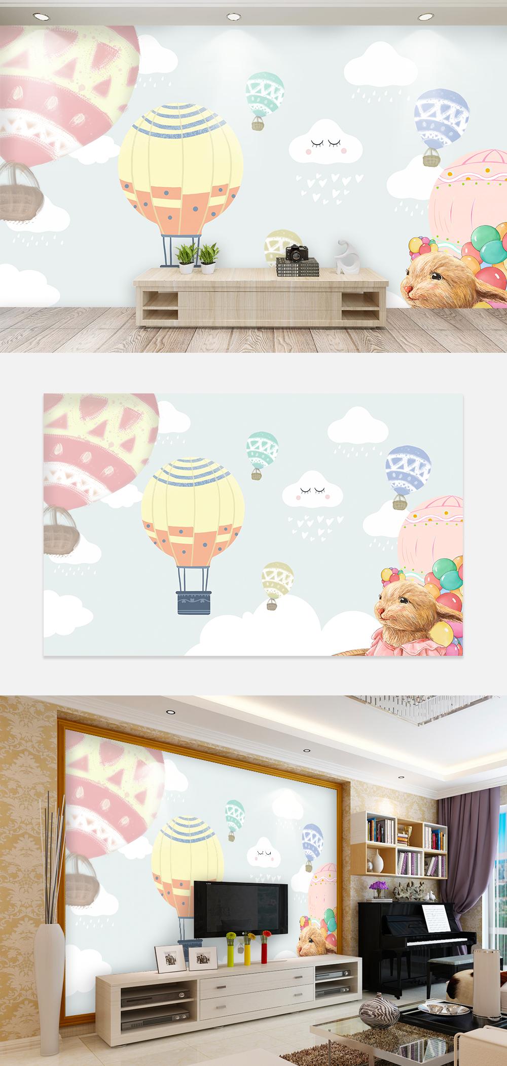 Balon Udara Panas Kartun Wallpaper Dinding Latar Belakang