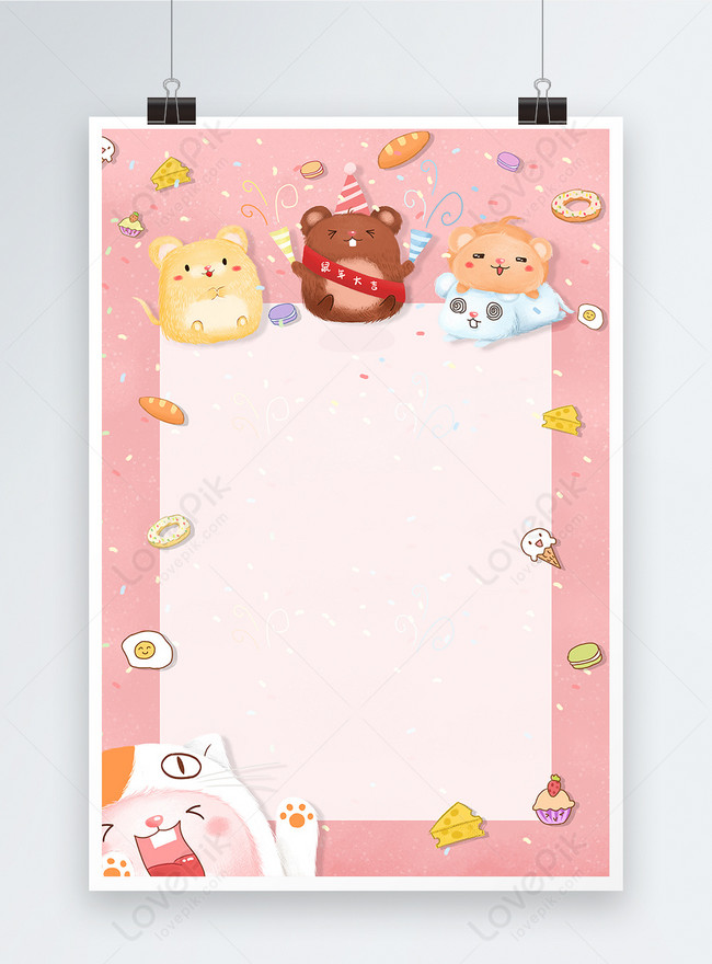 cute rat year poster background
