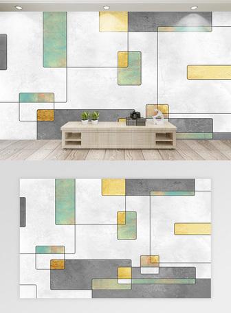 現代簡約線條几何背景牆 模板