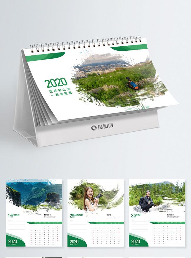 simple and fresh 2020 desk calendar design