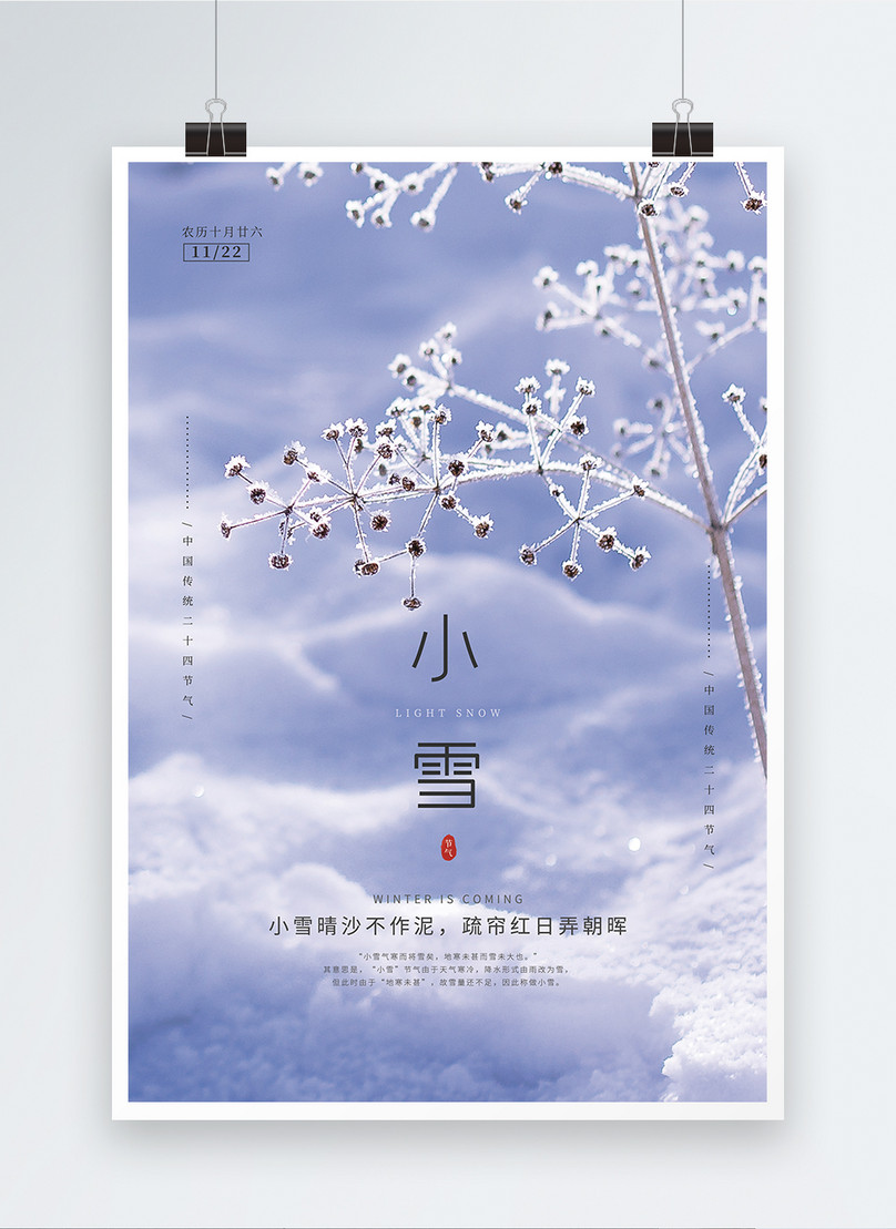 chinese traditional twenty four solar snow poster