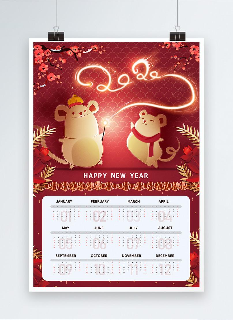 2020 rat year new year calendar festival poster
