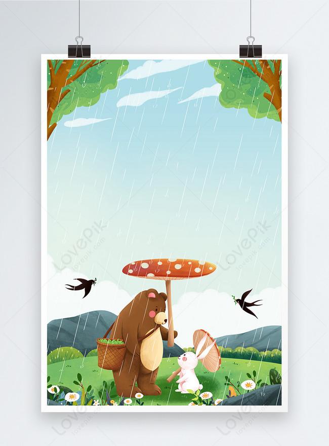 twenty four solar terms rain poster background